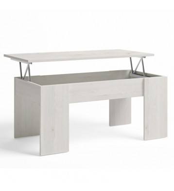 Mesa centro elevable color blanco nordic 100x45x50 cm