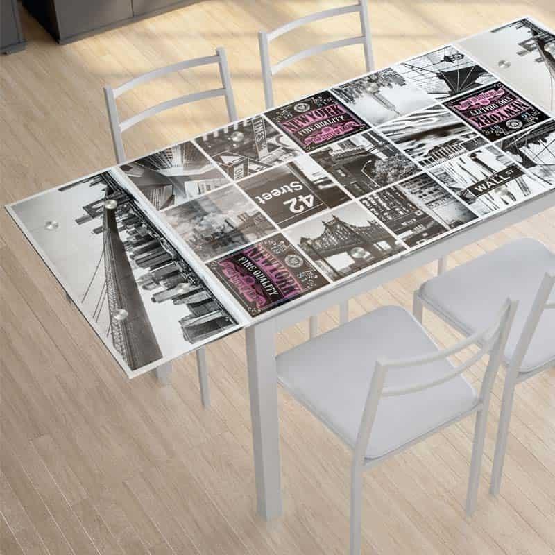 Pack cocina New York mesa extensible y 4 sillas