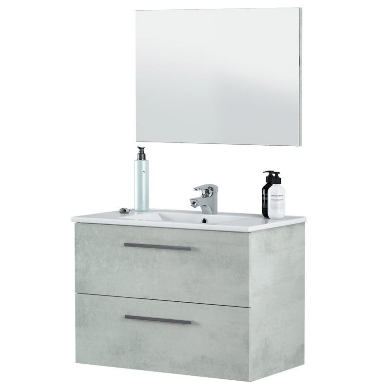 Mueble baño con espejo Cemento 80x45x57 cm Lavamanos Opcional
