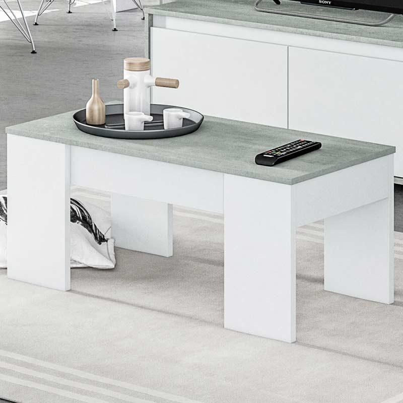 Mesa centro elevable Cemento salón comedor 102x50x43 cm