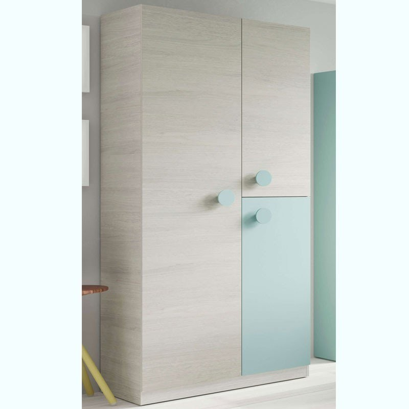 Pack cama nido estante y armario juvenil Snuba verde y blanco 90x190