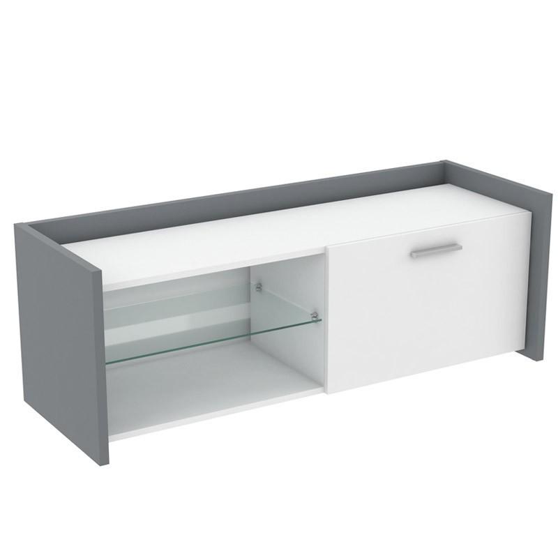 Mueble TV Plume color blanco y gris 121x42x43 cm