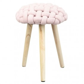 Pack 2 taburetes Trenza color rosa tejido crochet 46x36 cm