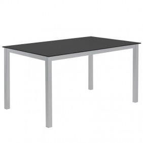 Mesa cocina Cadell cristal negro estructura metal 140x90 cm