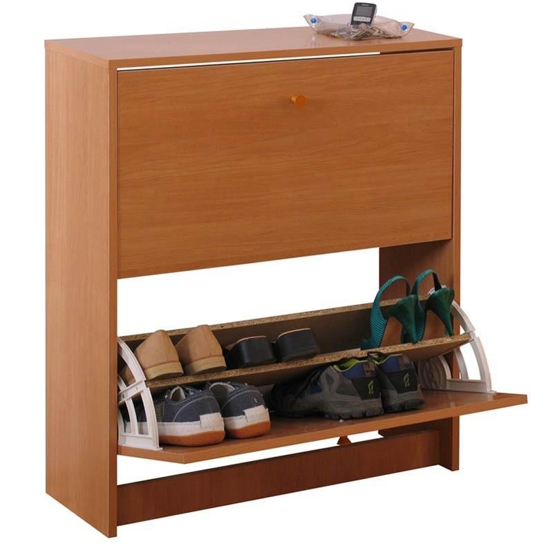 Mueble zapatero 2 puertas color cerezo 74x25x87 cm