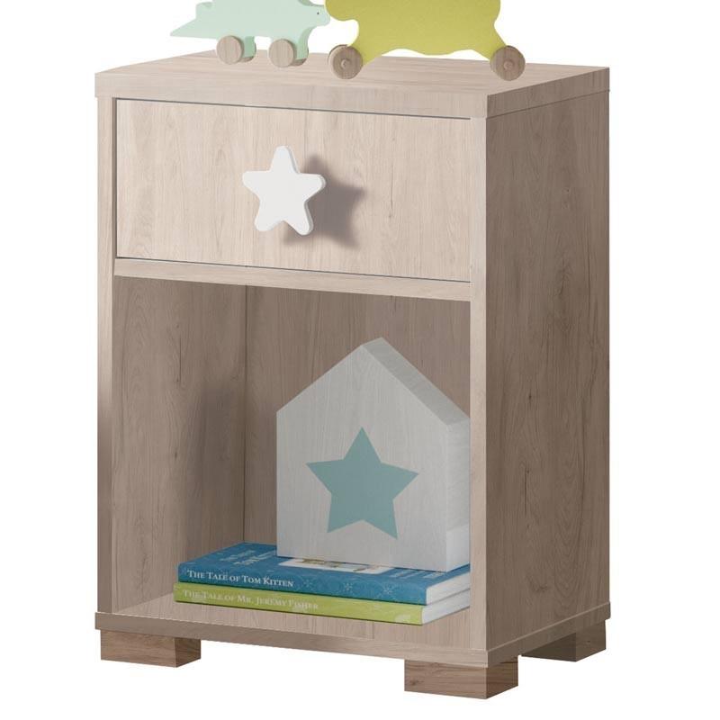 Cabecero y mesita infantil Star color roble