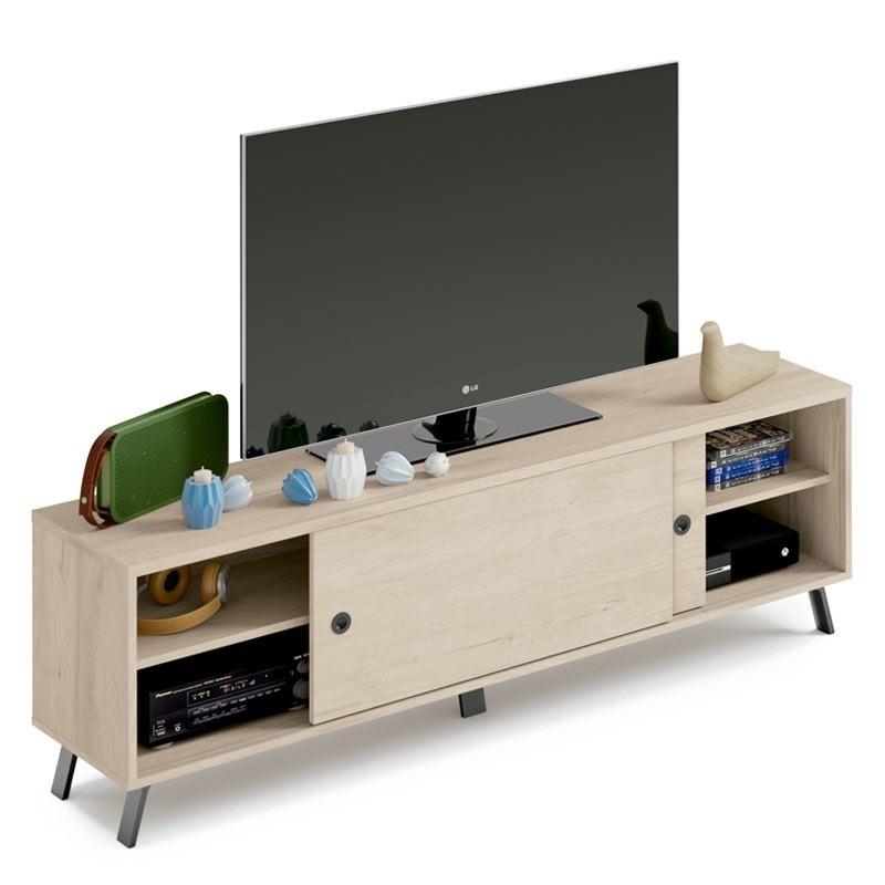 Mueble TV salón Kam color roble 160x52x40 cm