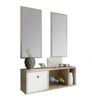 Mueble recibidor 2 espejos 78x28 cm