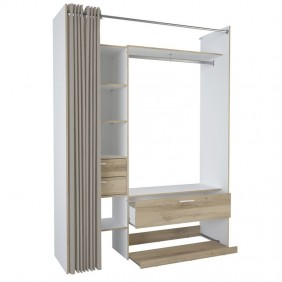 Armario vestidor abierto blanco y roble 162x50