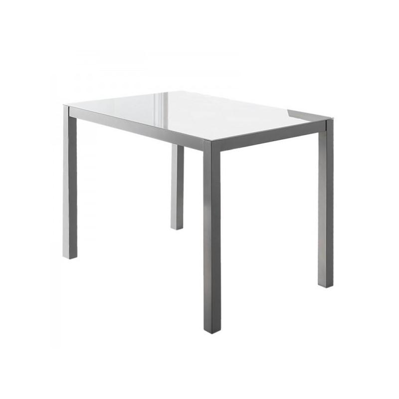 Mesa Cocina Cristal Blanco 110x75