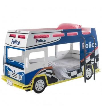 Litera infantil coche policía blanca y azul habitación juvenil