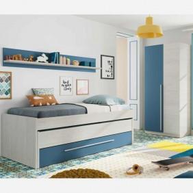 Cama nido, armario y estantería. Somieres incluidos