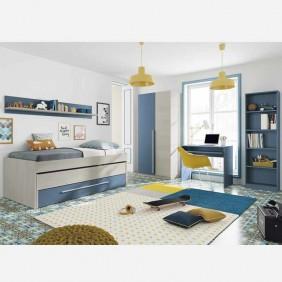 Muebles de dormitorio juvenil completo azul y blanco CON SOMIERES