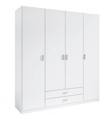 Armario Roma blanco 4 puertas 2 cajones 216x200x53 cm
