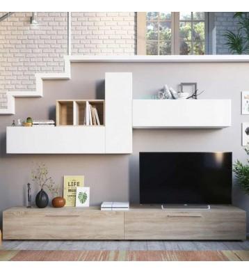 Mueble salón moderno Leo blanco y roble 260 cm