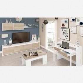 Pack para salón mueble mesa de centro y escritorio roble y blanco