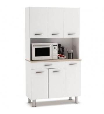 Armario aparador blanco cocina 6 puertas. Blanco y roble