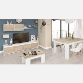 Pack de muebles de salón nórdicos blanco y roble