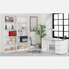 Pack despacho blanco mesa y 2 estanterías