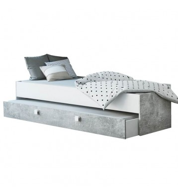 Cama nido individual con cajonera Concrete industrial 90x200 cm NO incluye somier ni colchón
