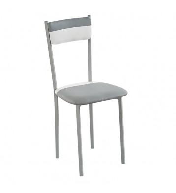 Pack 2 sillas poliuretano combinado dos colores blanco/gris