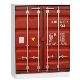 Armario zapatero industrial contenedor rojo 75x36x100