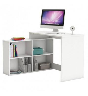 Mesa escritorio con estanteria baja. Blanca