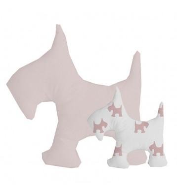 2 cojines Perrito rosa blanco